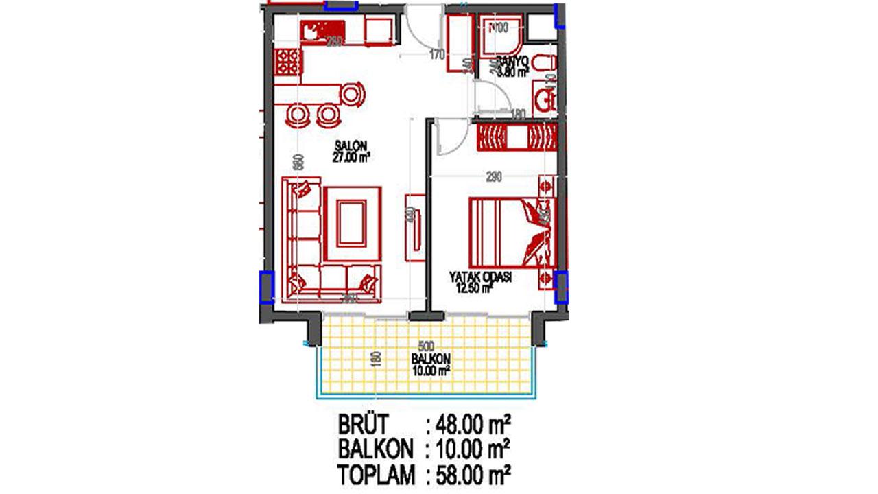 планировка апартаментов 1+1