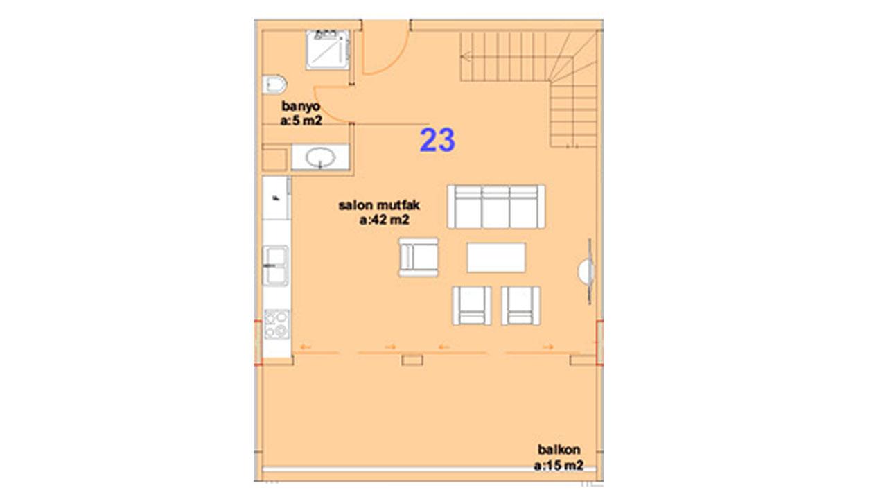 Планировка дуплекс 2+1 (1 этаж)