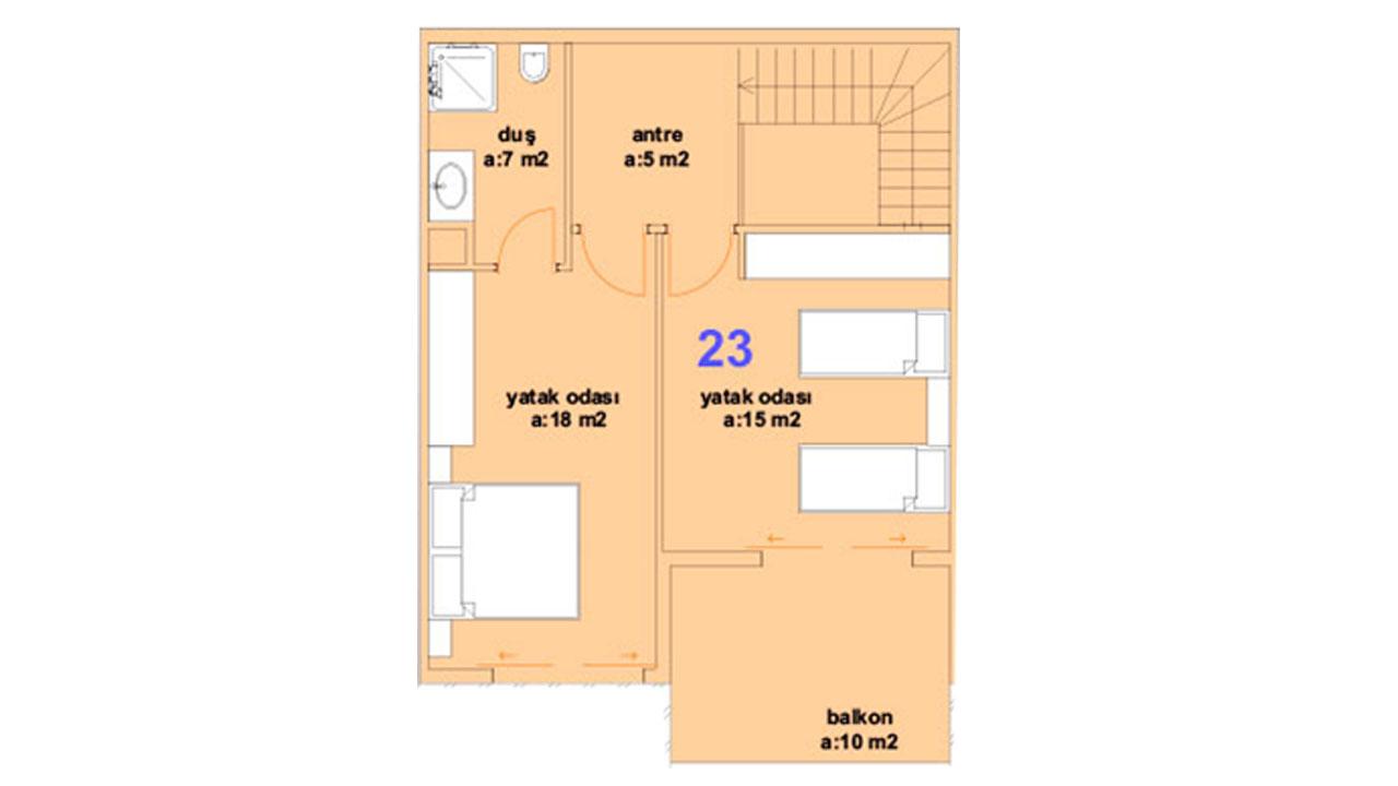 Планировка дуплекс 2+1 (2 этаж)