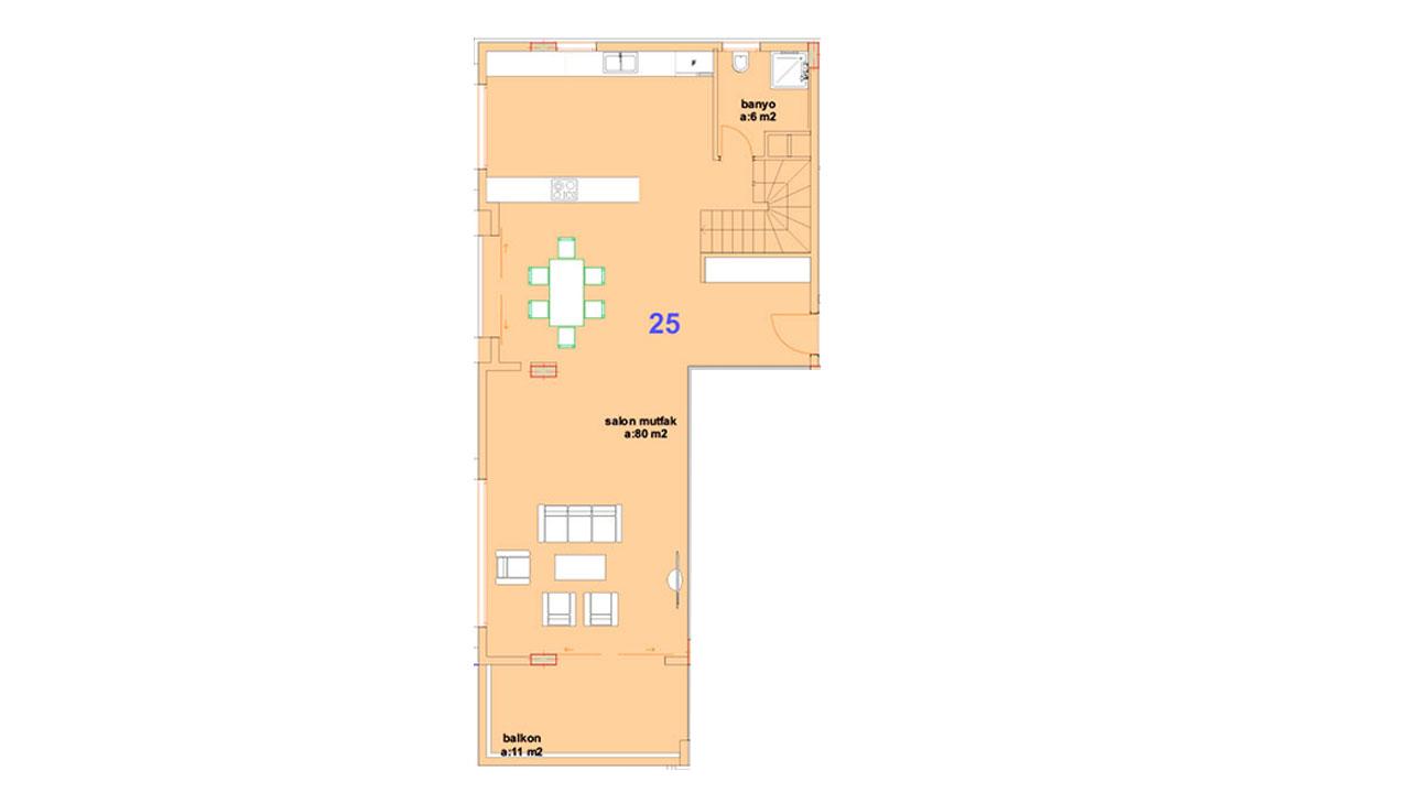 Планировка дуплекс 3+1 (1 этаж)