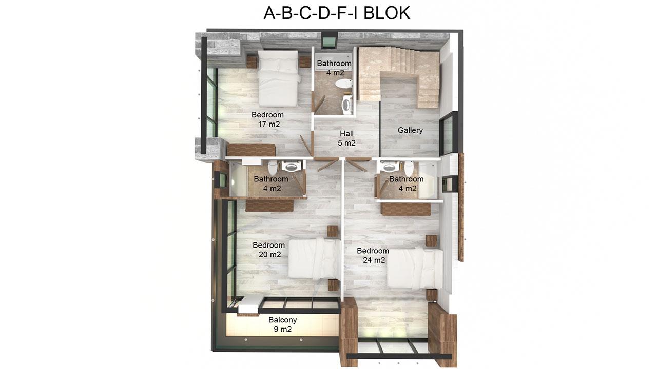 Планировка виллы 4+1 (2 этаж)