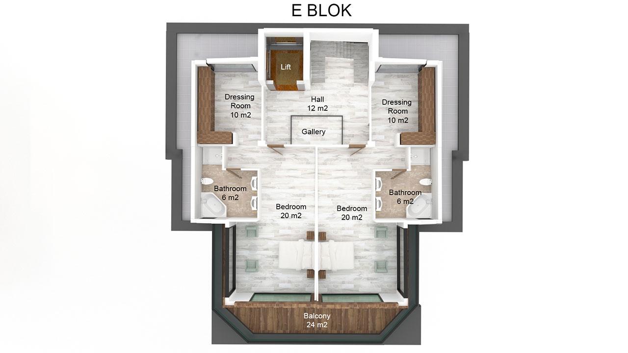 Планировка виллы 10+1 (3 этаж)