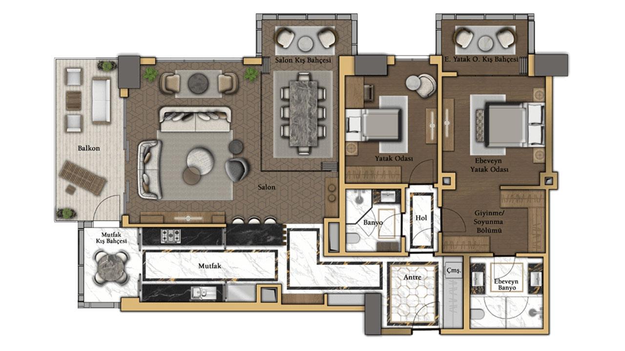 планировка 2+1 (104 кв. м.)