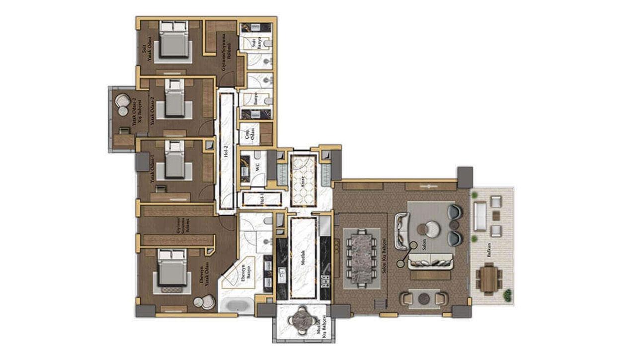 планировка 4+1 (208 кв. м.)