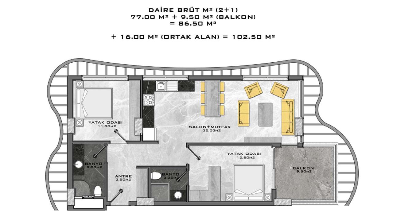 планировка 2+1 (102,5 кв. м.)