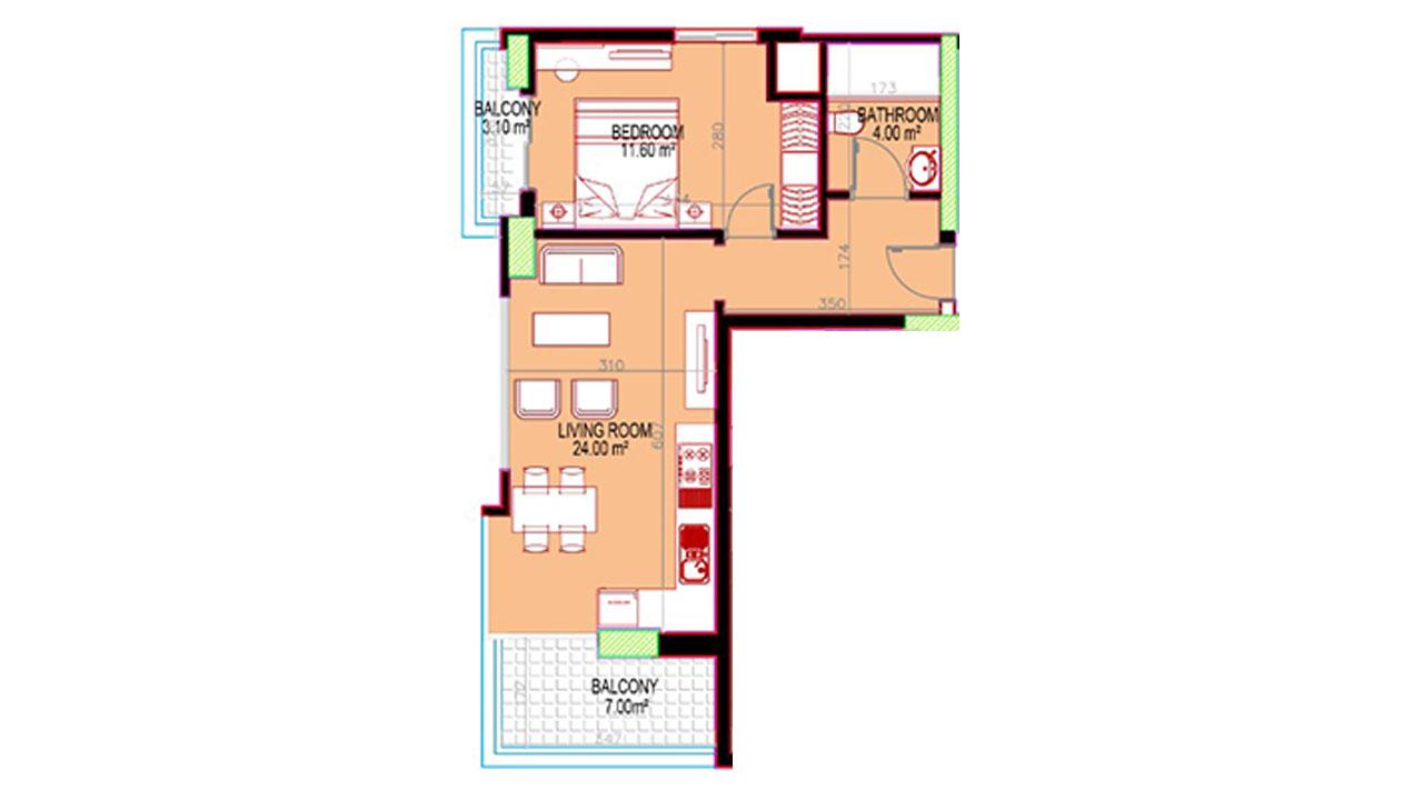планировка 1+1 (68 кв. м.)