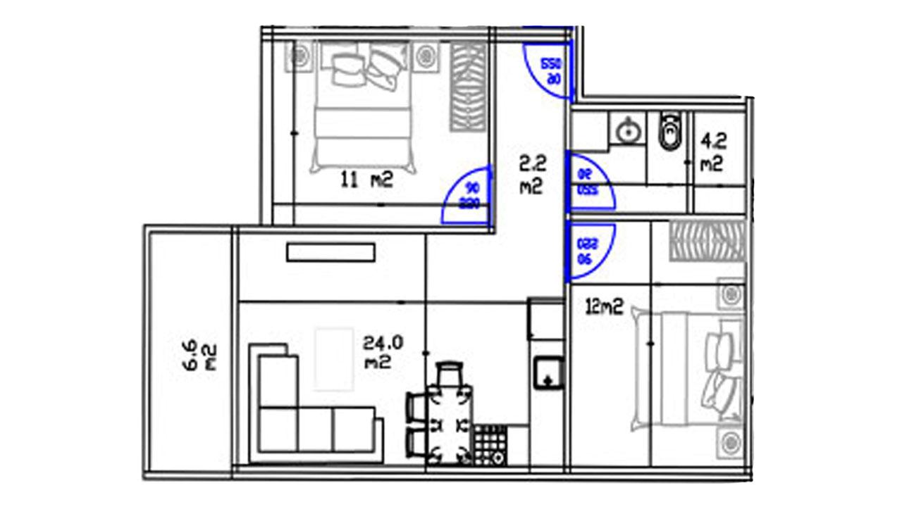 Планировка 2+1 (78 кв. м.)