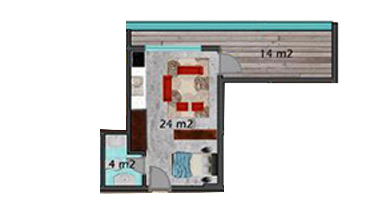 Планировка 1+1 (42 кв.м.)