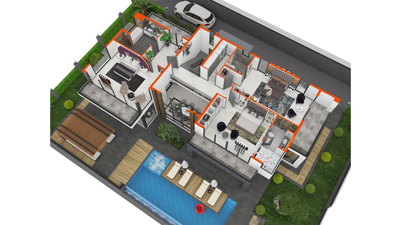3D план первого этажа