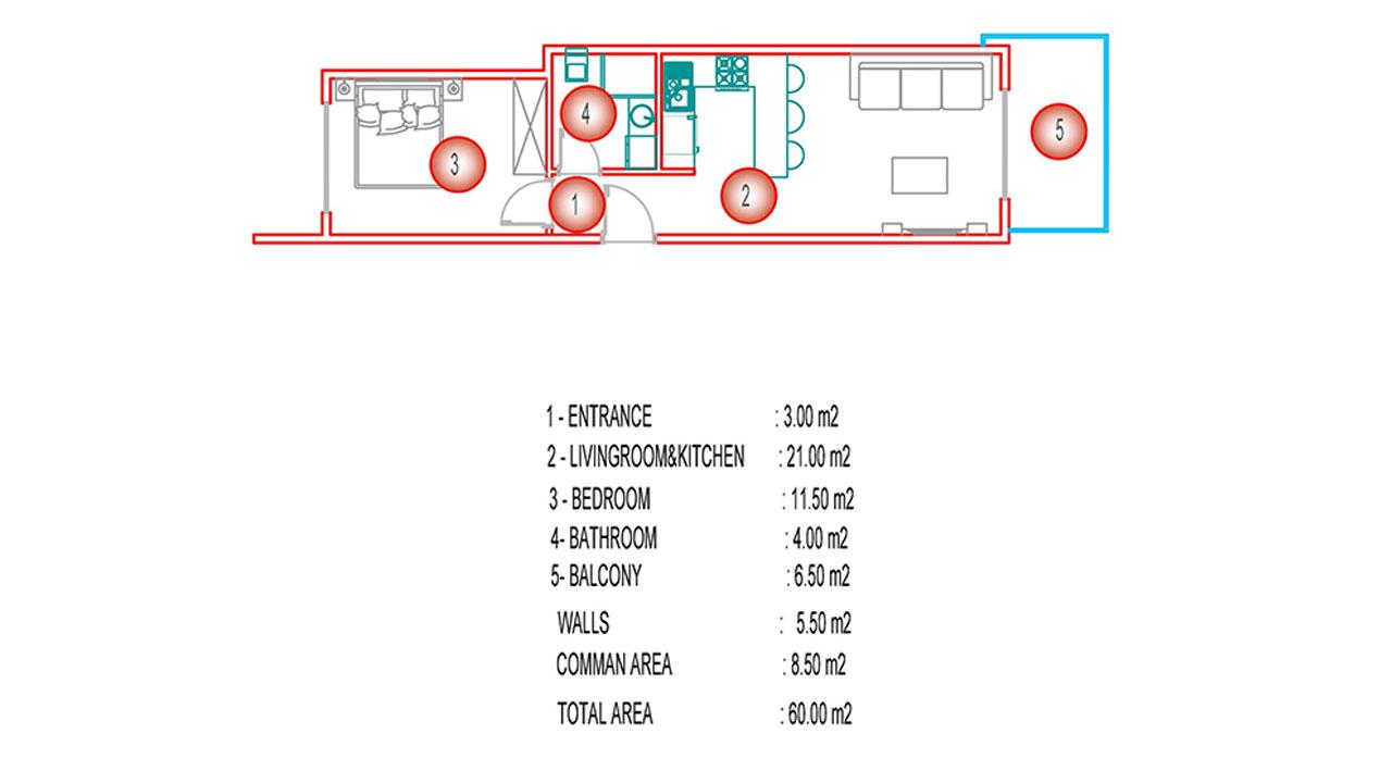 Планировка 1+1 (60 кв.м.) блок А