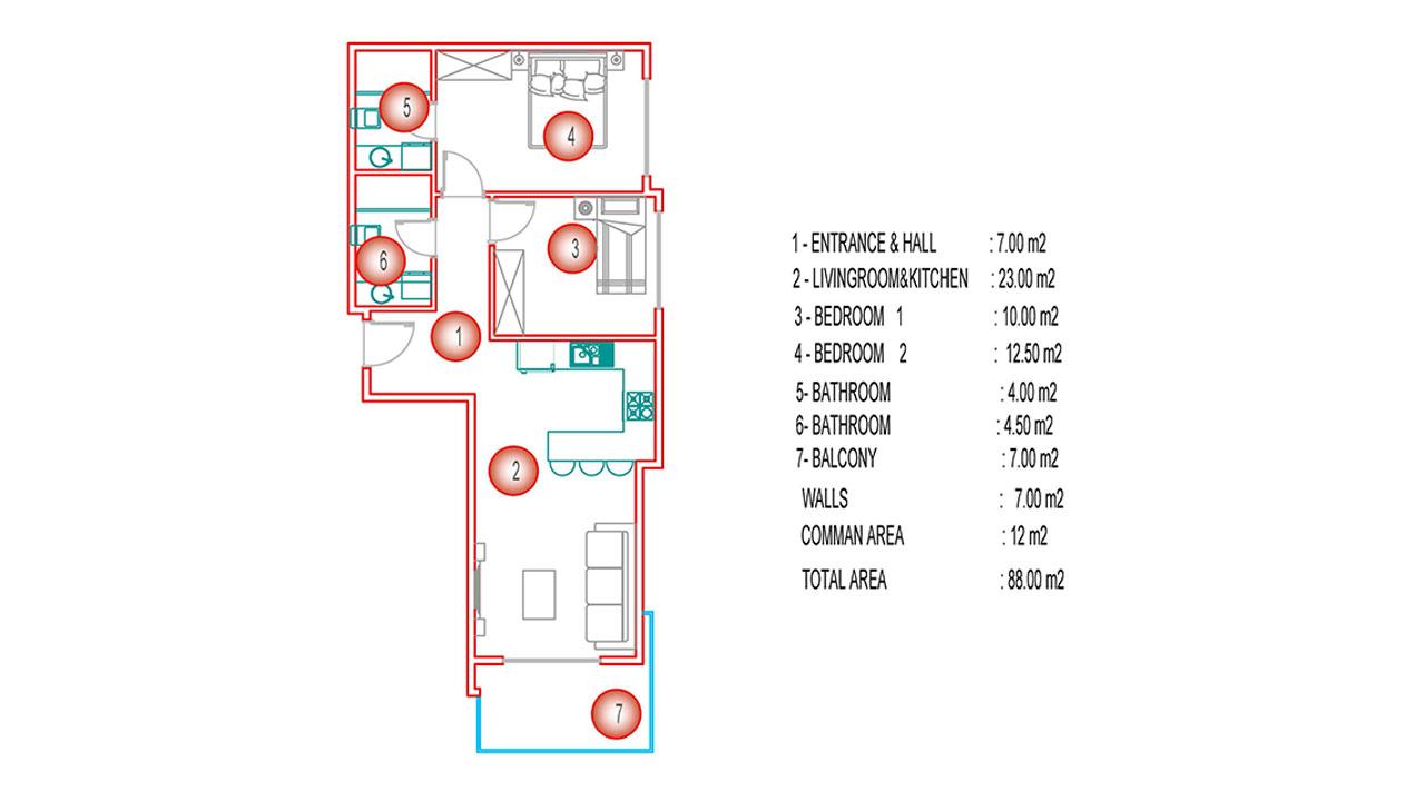 Планировка 2+1 (88 кв.м.) блок А