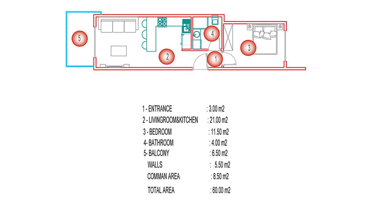 Планировка 1+1 (60 кв.м.) блок Б