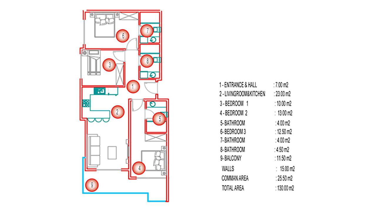 Планировка 3+1 (130 кв.м.) блок Б