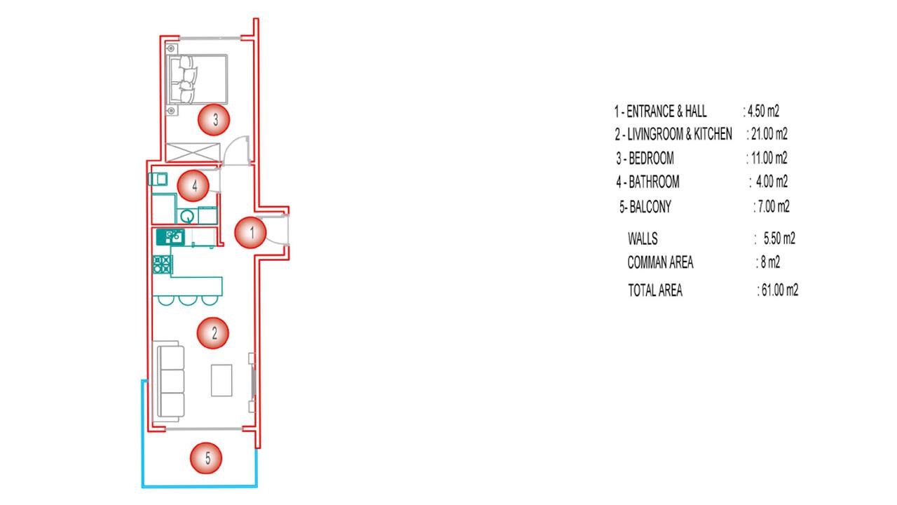 Планировка 1+1 (61 кв.м.) блок С