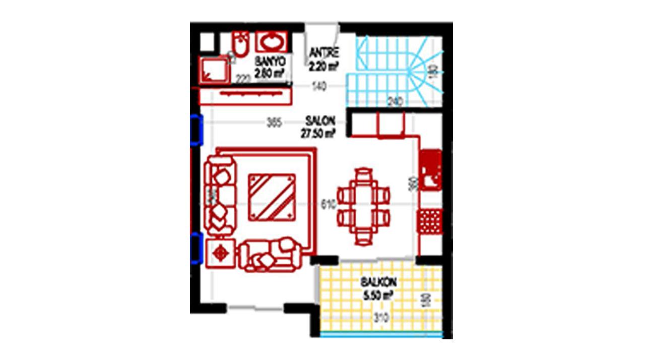 План дуплекс 2+1 (103,5 кв.м.) нижний этаж