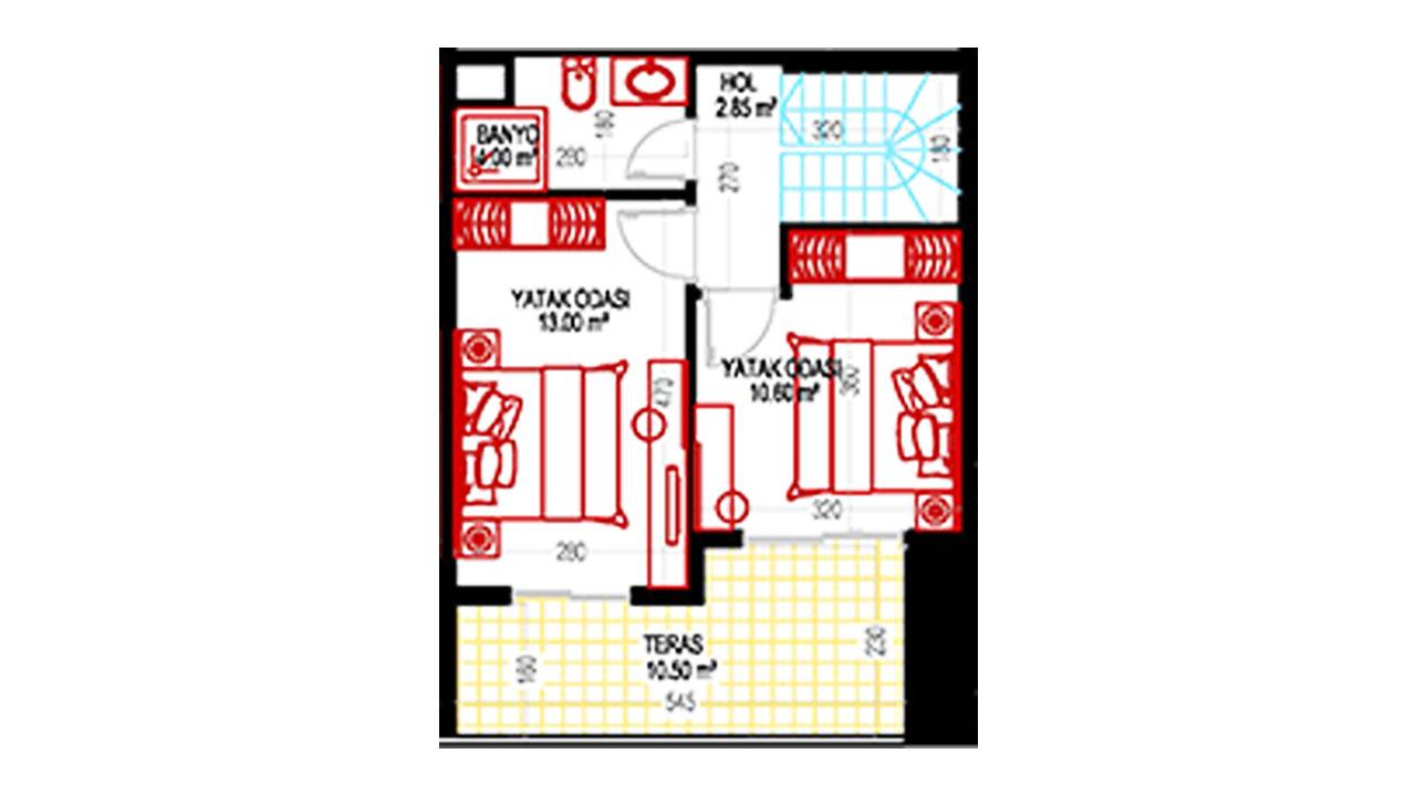 План дуплекс 2+1 (103,5 кв.м.) верхний этаж