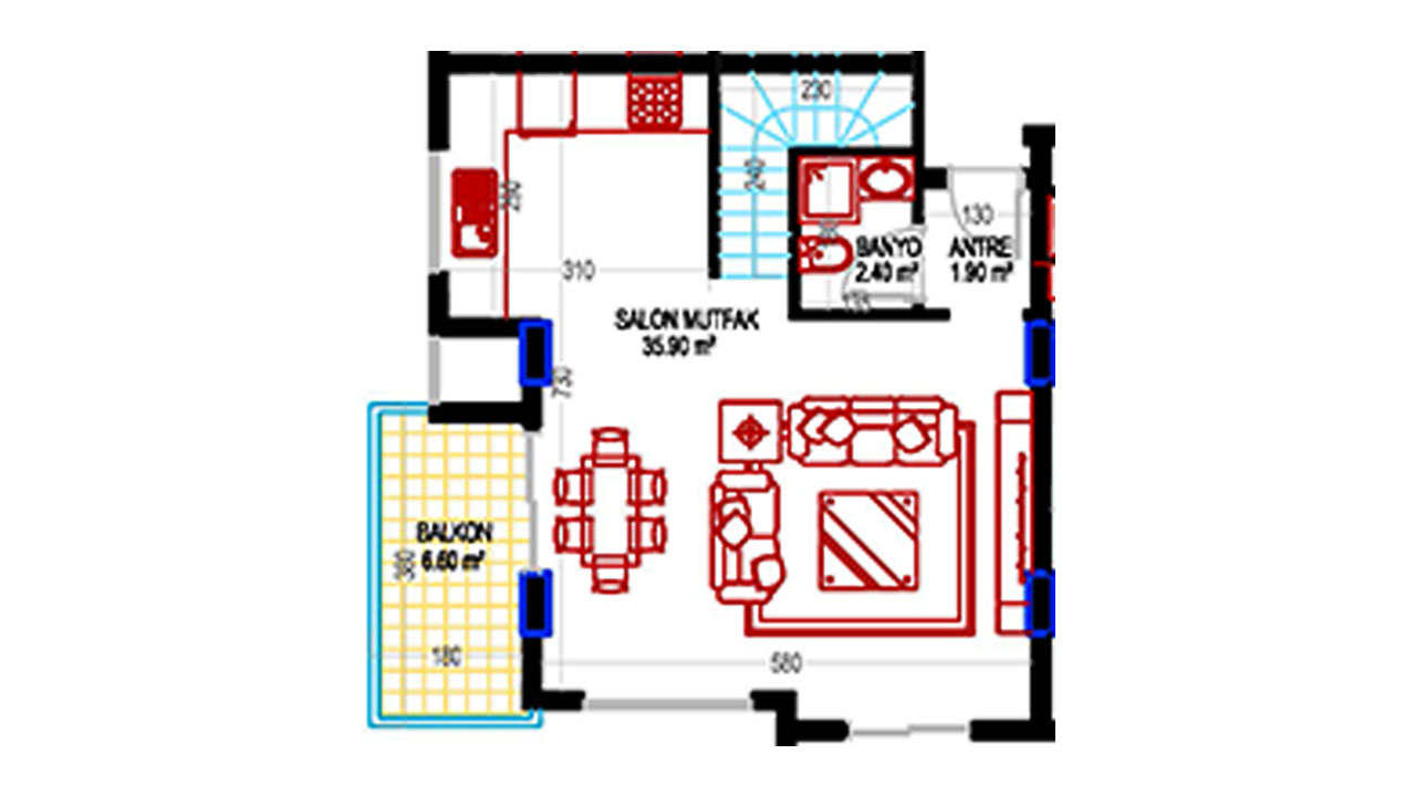 План дуплекс 2+1 (132 кв.м.) нижний этаж