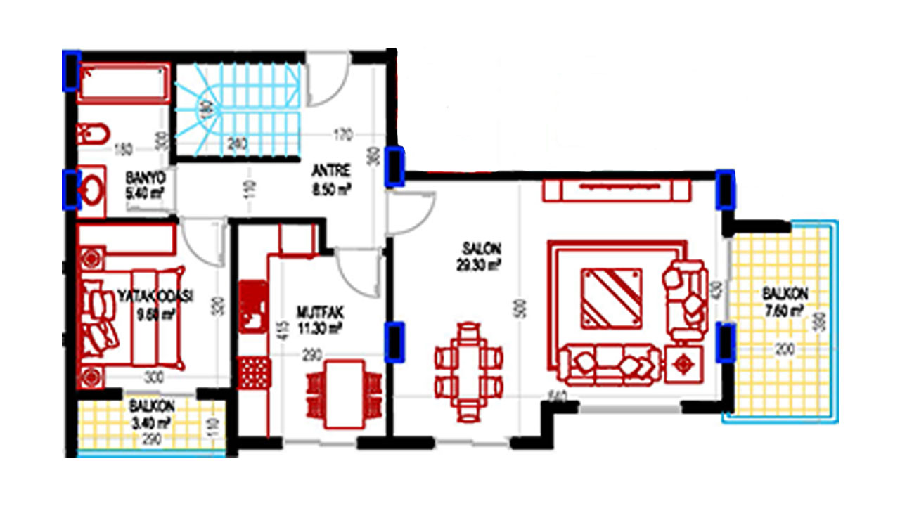 План дуплекс 4+1 (203 кв.м.) нижний этаж