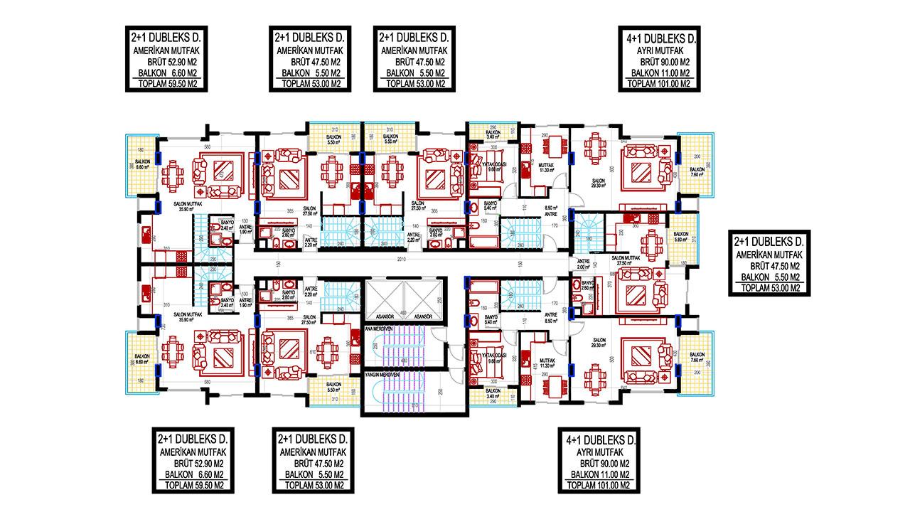 План этажа общий дуплекс 1