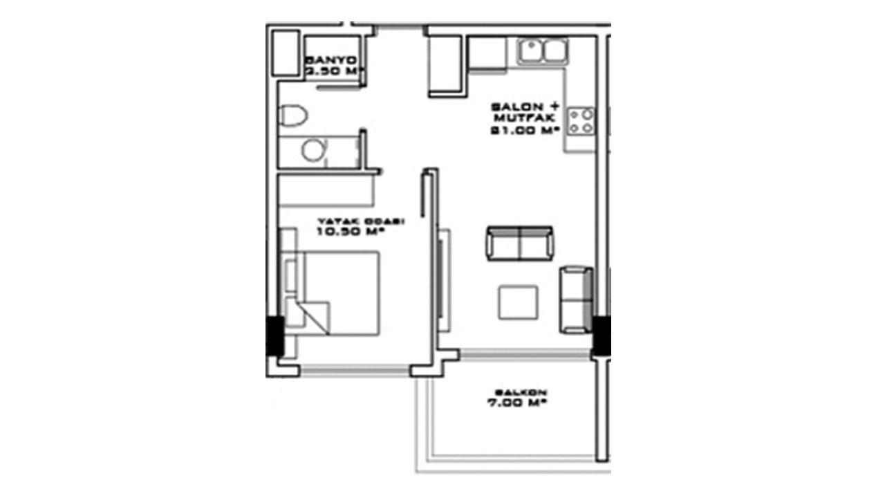 Планировка 1+1 (57,5 кв.м.) блок B