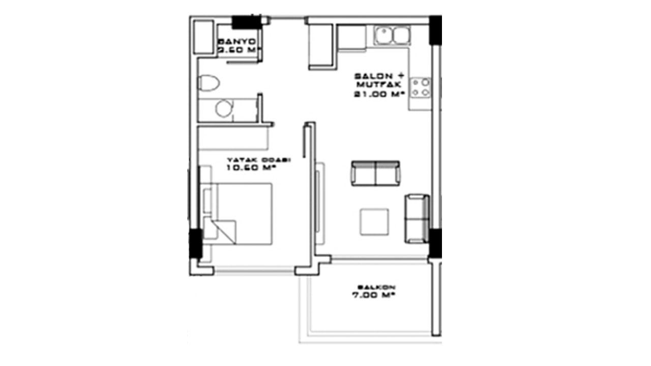 Планировка 1+1 (58 кв.м.) блок A
