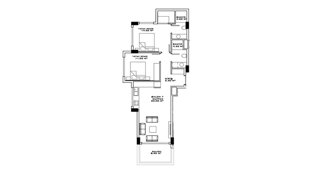 Планировка 2+1 (100,5 кв.м.) блок B