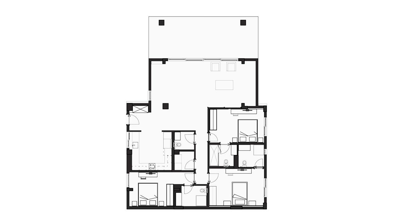 Планировка 3+1 Блок D (144.37 кв.м.)