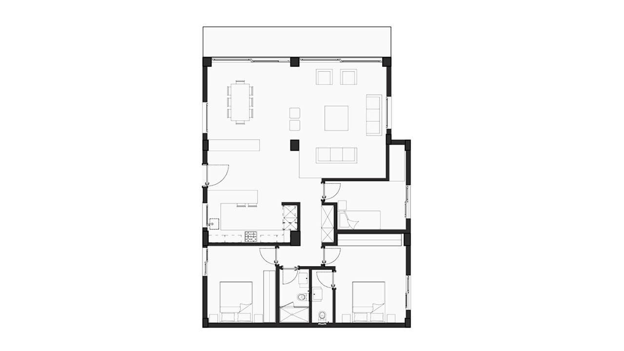 Планировка 3+1 Блок F (130.37 кв.м.)