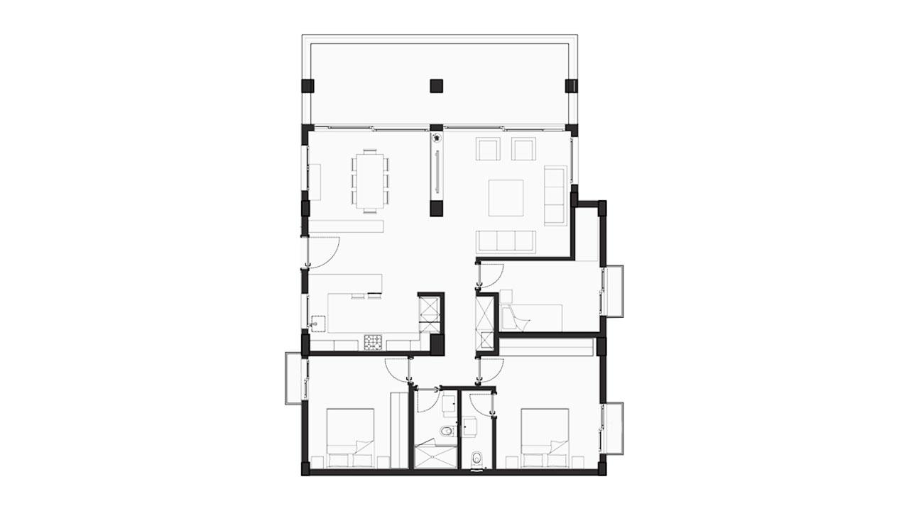 Планировка 3+1 Блок F (116.56 кв.м.)