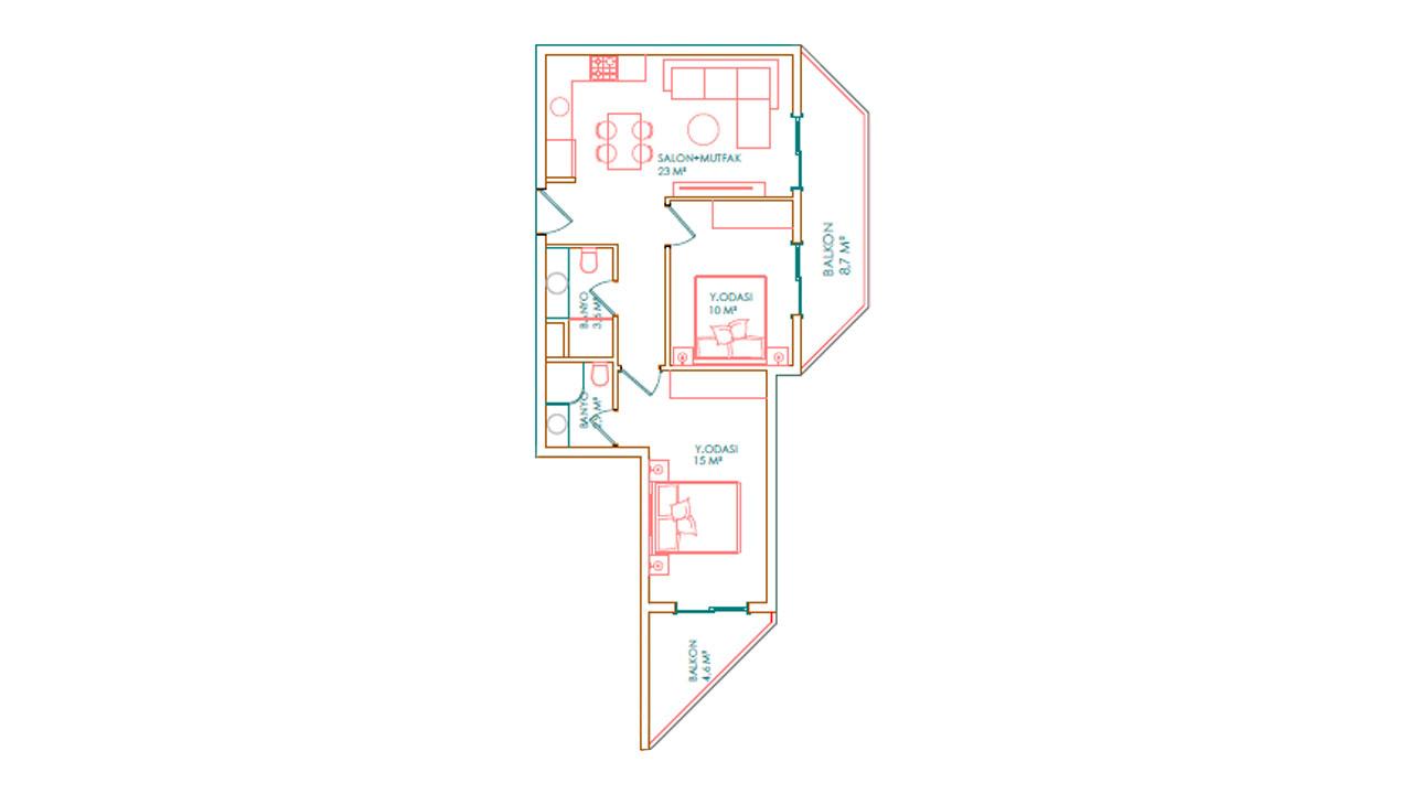 Планировка 2+1 (81 кв. м.)