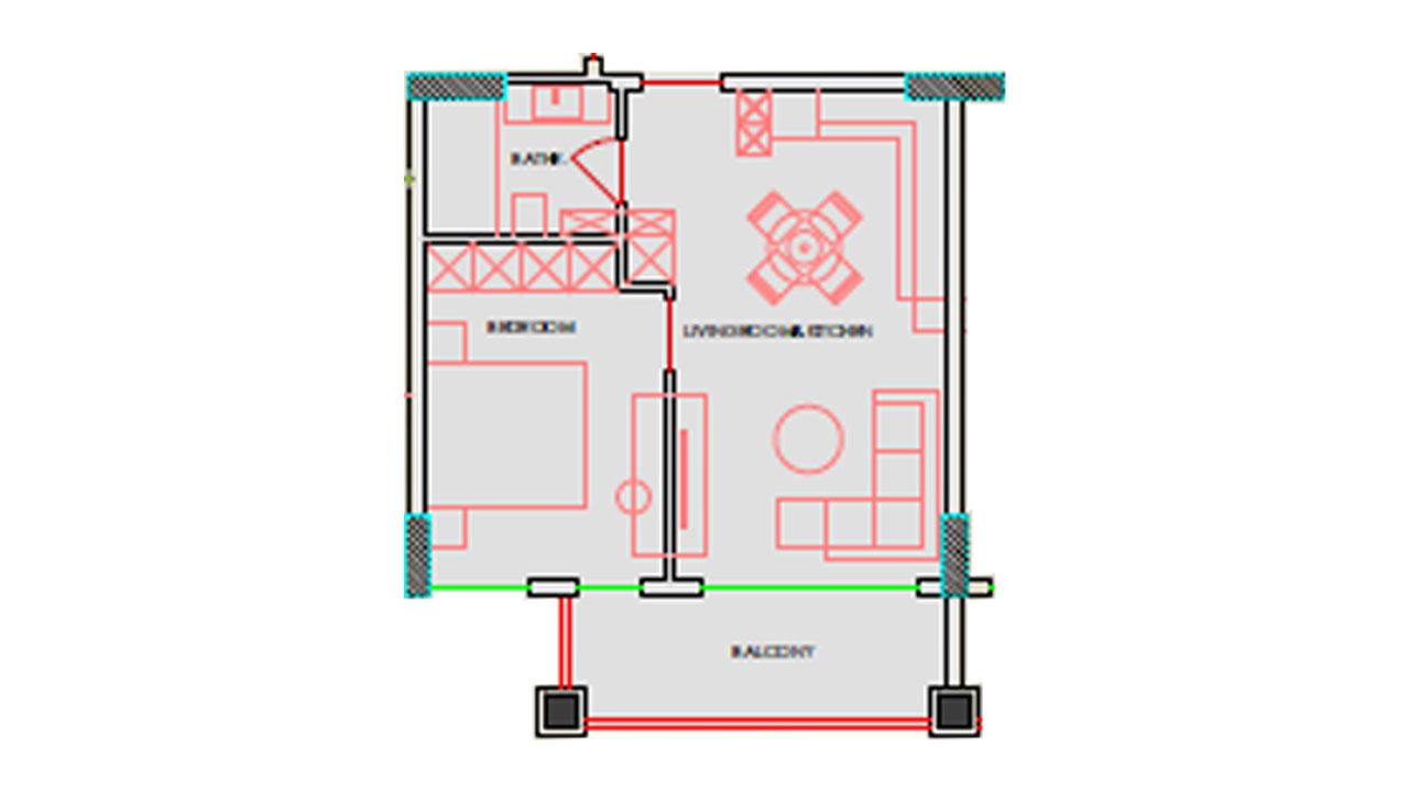 Планировка 1+1 (64 кв. м.)