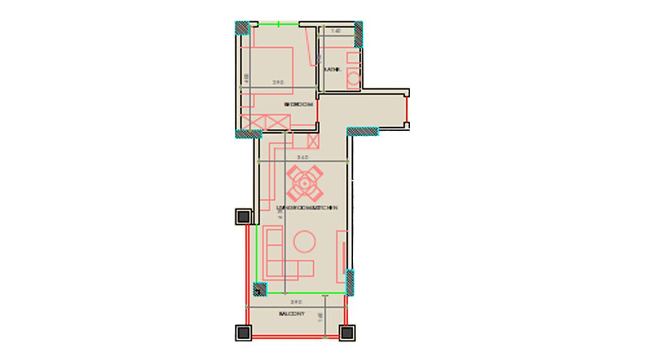 Планировка 1+1 (67 кв. м.)