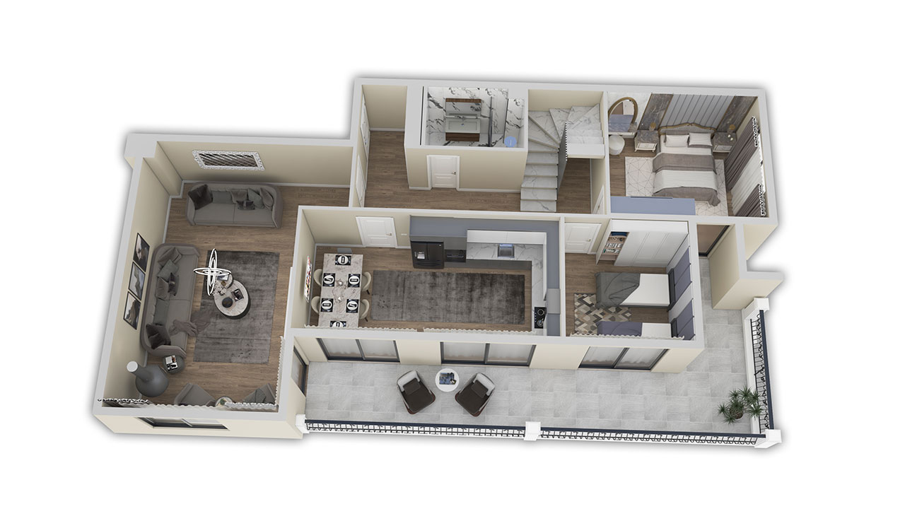 Планировка пентхаус 5+1 (263 кв. м.) нижний этаж