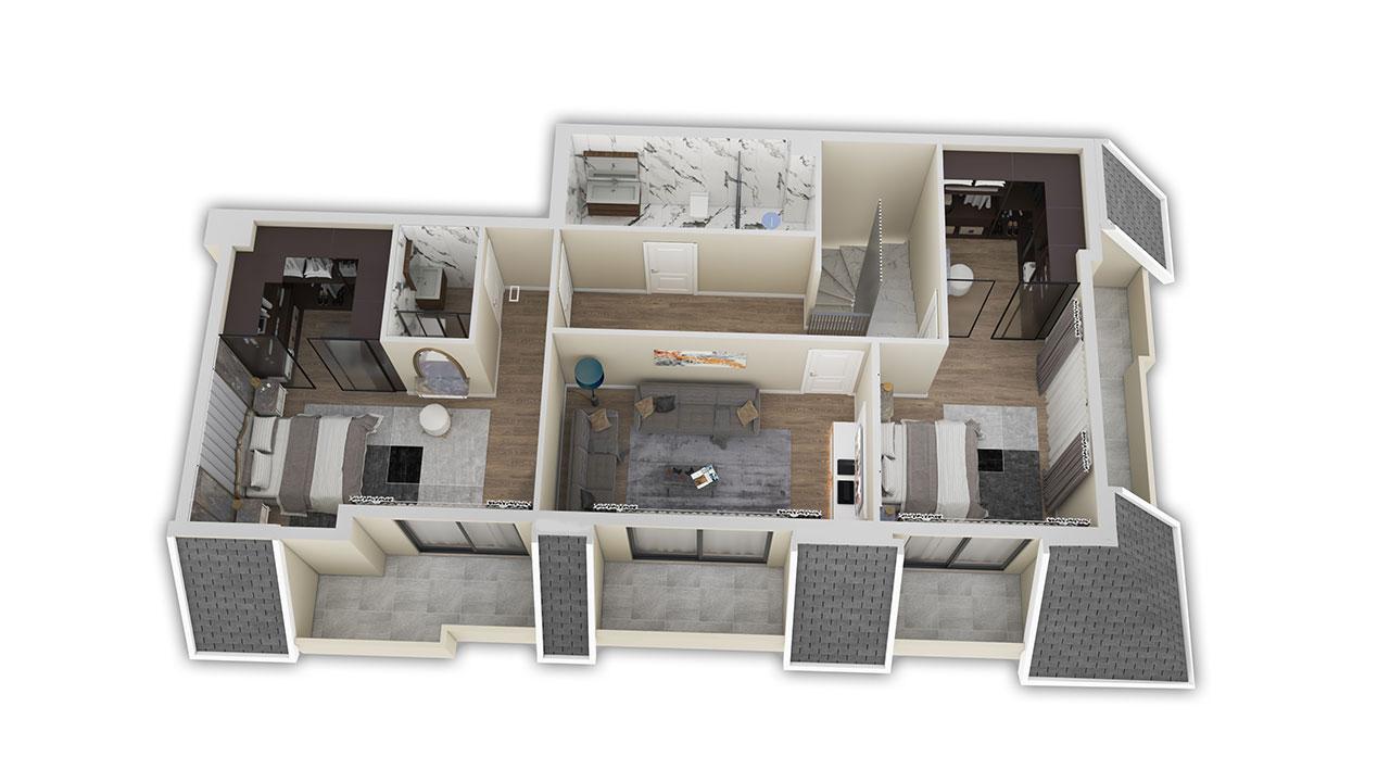 Планировка пентхаус 5+1 (263 кв. м.) верхний этаж